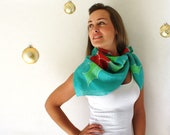 Christmas Silk Scarf - Green and Red - Hand Painted Silk Scarf - Winter Fashion- Holly Silk Scarf - Holidays - TheSilkMoon