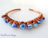 copper wire wrap bracelet....Spring, Unigue, Mothers day, blue beaded HANDMADE - theflowerdesign