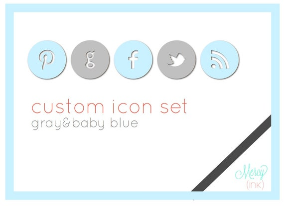 BLUE & GRAY Custom Social Media Icons - Blogs or Websites -