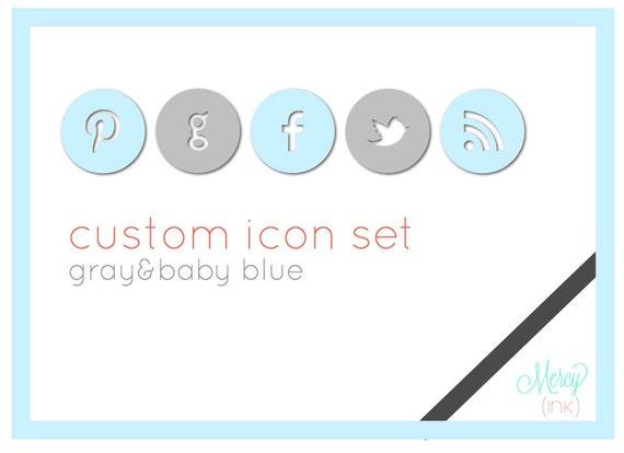 BLUE & GRAY Custom Social Media Icons - Blogs or Websites -