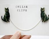 Black Cat Wooden Collar Clips - ladybirdlikes