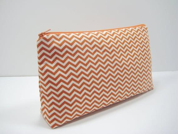 Chevron Pouch, Fall Colors Accessory Pouch, Cosmetic Pouch, Pencil Case
