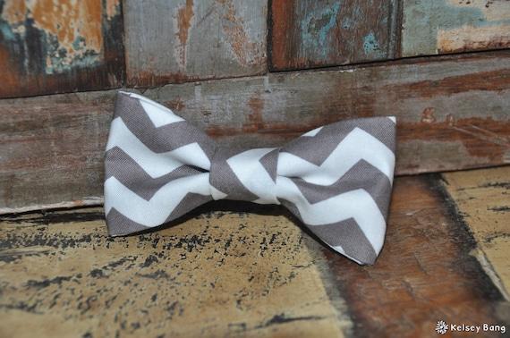 boys easy clip on bow tie - gray and white chevron