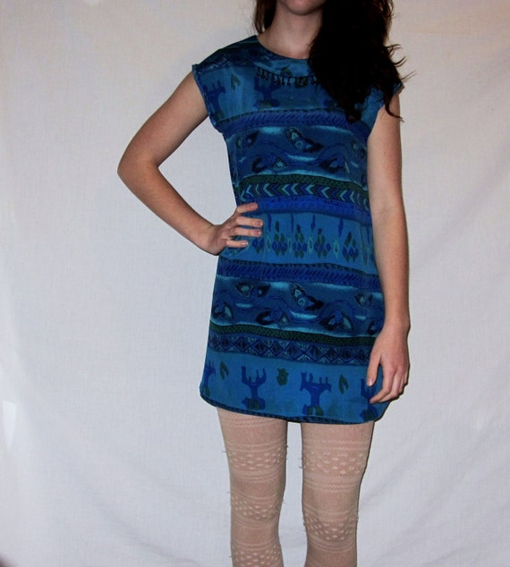 Retro Blue/Green 1980's Patterned Dress, Shirt, Cover Up