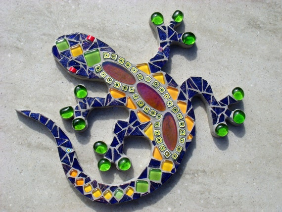 Outdoor Decor Blue Green Yellow Mosaic Gecko Lizard Garden Wall plaque