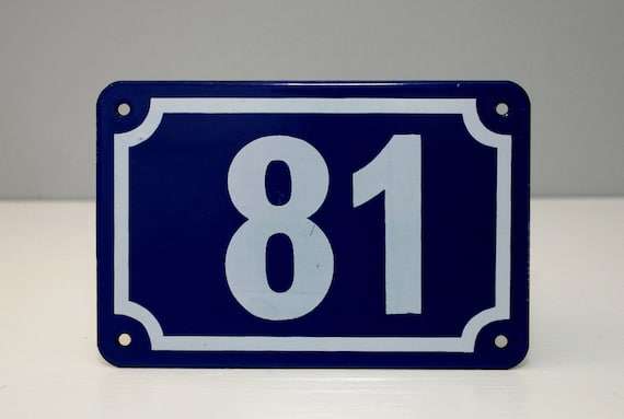 VINTAGE Enamel House Number, made by Garnier Signs, London. Iconic European Style in Royal Blue, Number 81