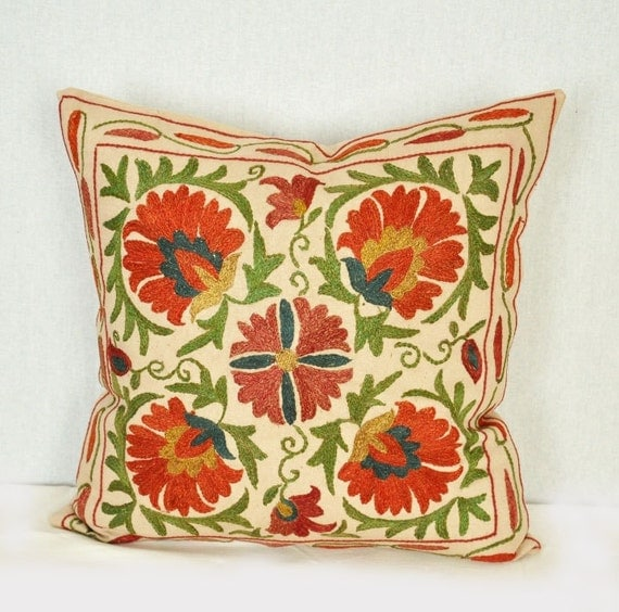 Suzani pillow cover - Decorative pillow