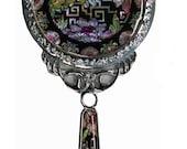 Mother of Pearl Butterfly Design  Makeup Cosmetic Handbag Purse Compact  hand porcket Mirror crane design