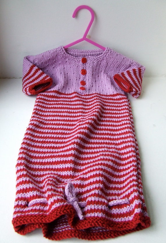 Cotton/bamboo mix hand knit sleepsack (age 3-6 mths)