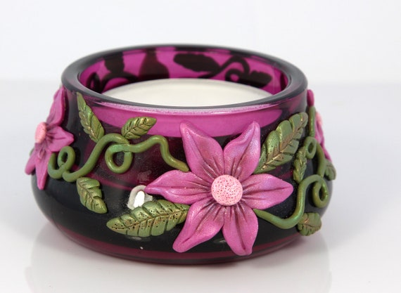 Candle Holder -burgandy with pink flowers