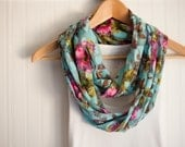 Floral Long Circle Infinity Scarf  Featured in Women's Day Magazine.com and glo.msn