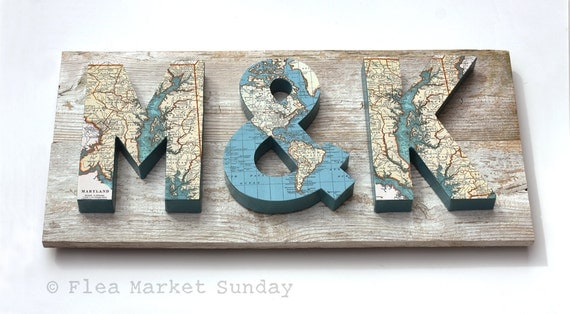 3 Dimensional Map Letters on Reclaimed Wood. 11 Diy-able Ideas For Using Maps and Mod Podge. Simplicity In The South.