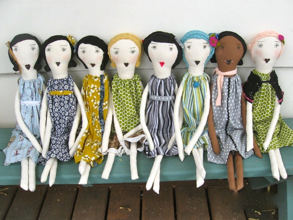 Rag Dolls - One of a Kind - Handmade Heirloom Quality Soft Cloth Dolls- 22 Inches - Recycled Vintage Textiles - Custom & Wholesale Welcome