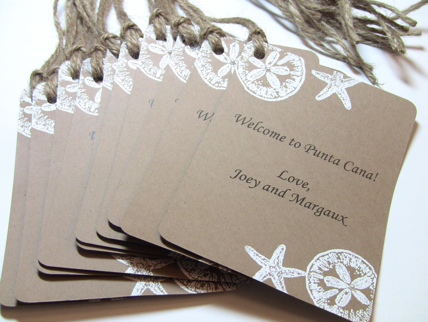 10 Custom Wedding Gift Bag Tags with Little Pearls - Handmade Embossed ...