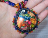 Reserved listing for  Iona Moon,  Summer Joy - Bead Embroidery Necklace with Rainbow Sea Jasper and Pyrite - lutita
