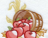 Autumn Apple Bushel - Embroidered Linen Kitchen / Tea Towel with YOUR CHOICE of Colored Border - EmbroideredbySue