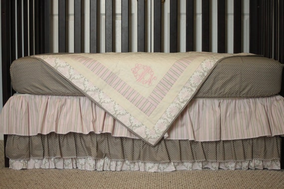 3 Piece Custom bumperless Crib Bedding w/FREE monogram