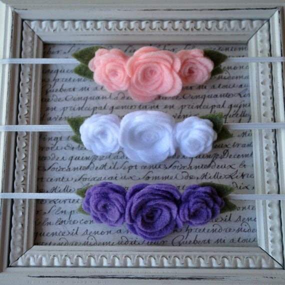 SET of 3 Felt Flower Headbands - Choose your colors and size - Skinny Elastic, Leaves, Roses