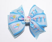 Store Closing Sale-Double Layer Pinwheel Hello Kitty Hairbow-Light Blue-Hello Kitty Resin Center-Girls Hairclip