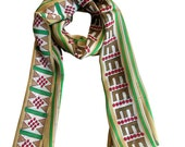 Silk Scarf Red Berries Forest Green Tan Stripes -Winter Fashion