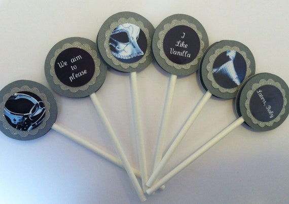 Fifty Shades of Grey Cupcake Toppers - 50 Shades of Grey Cupcakes - Party Favors