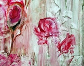 "Original Encaustic Abstract Floral painting ""Pink Roses"" StudioSabine 12""x12"""