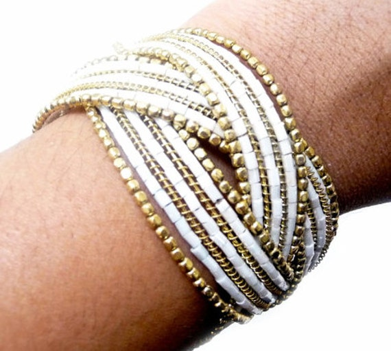 Unique Summer White and Golden Woven Wedding Cuff Bangle with Matching Gold Necklace