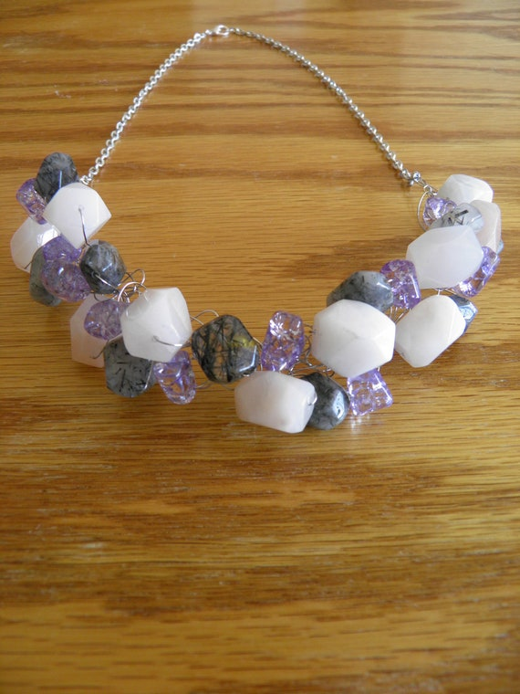 Ice Flake Quartz, Tourmalinated Quartz and Peach Quartz Semi Precious Woven Necklace
