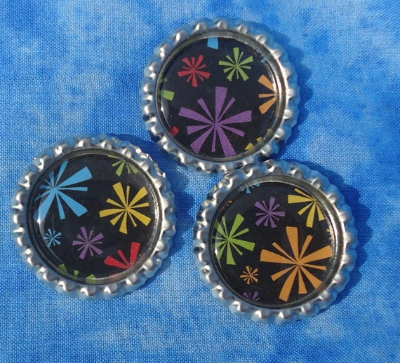 Bottlecap Magnet Set of 3, Color burst, fireworks