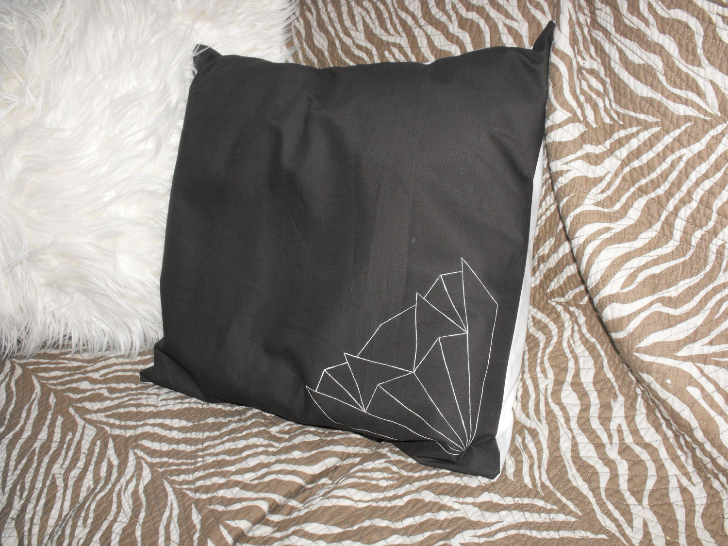 Hand painted art deco design cushion cover