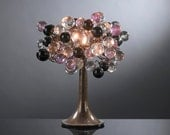 Table lamp with shades . Purple grey shades of bubbles. - Flowersinlight