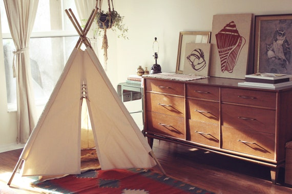 Canvas TEEPEE - Fold Away Kids TEPEE - Poles Not Included
