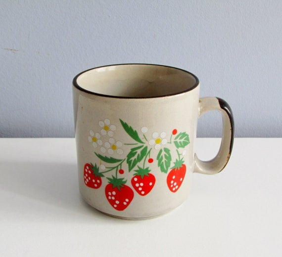 Strawberry Coffee Mug Retro Earthy Kitsch 1970s Ceramic Cup Vintage
