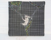 Koala on a tree silhouette with vintage fabric and beads - TreeChanger