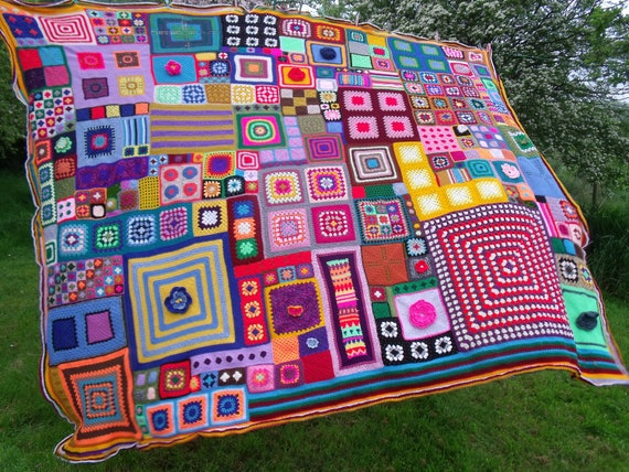 Large Patchwork Crochet Blanket. queen sized XL Psychedelic Hippie Boho