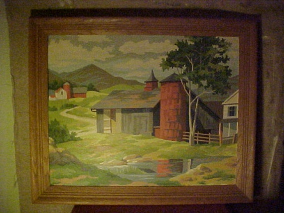 Vintage Paint by Number - Countryside Barns Mountains Farm - Framed & signed 1962