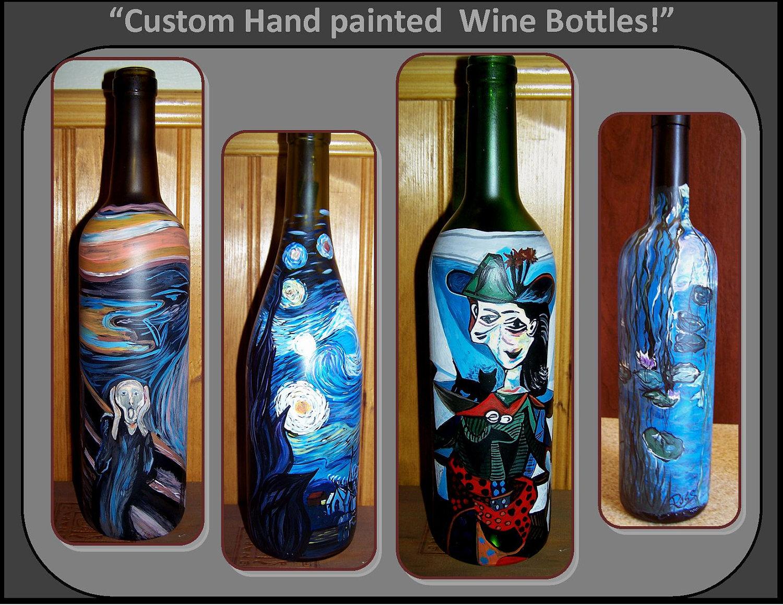 Custom wine bottlesartistic wine home by roseswireartjewelry for Wine bottle artwork