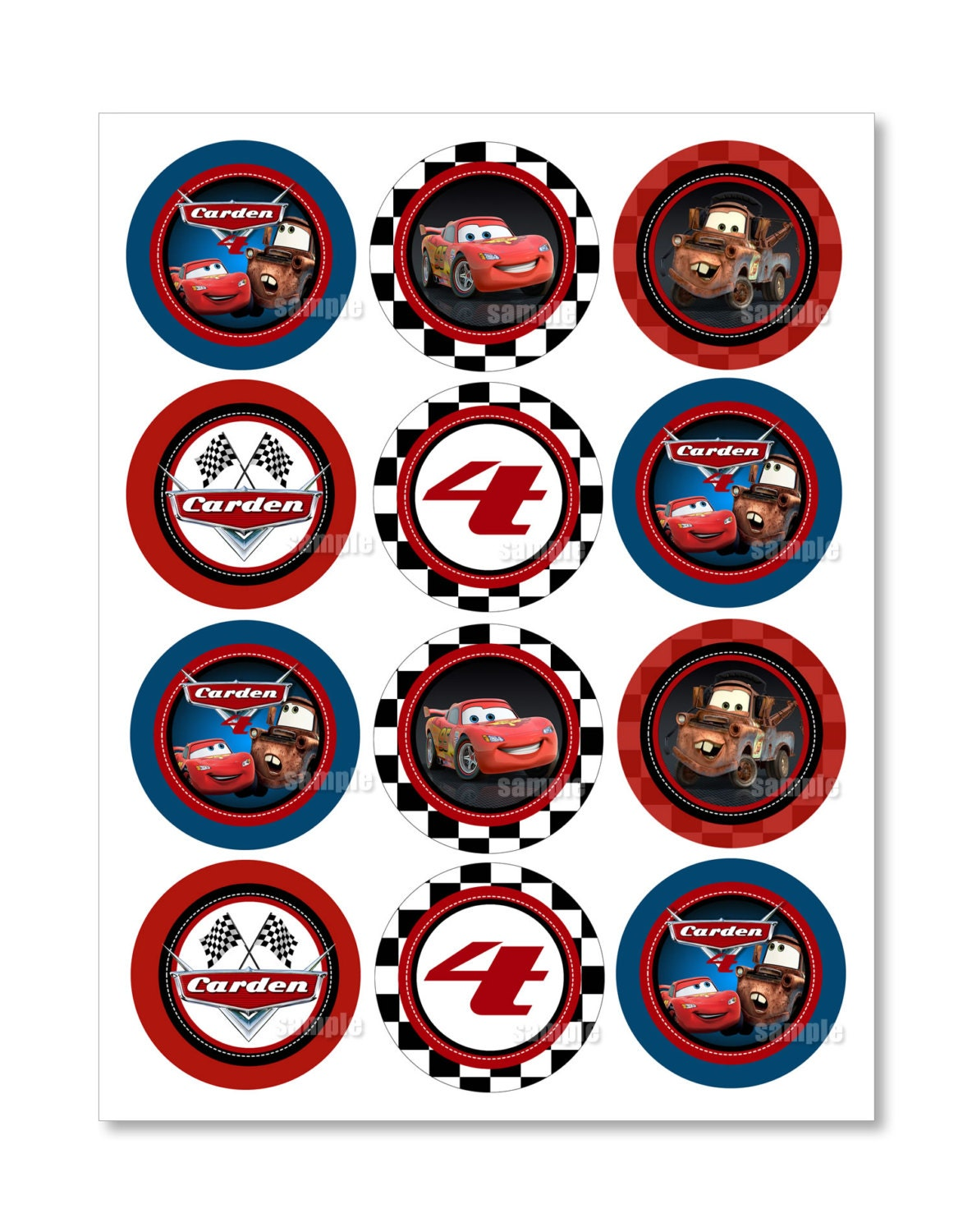 Cars Cupcake Toppers. Disney Cars Mater and McQueen ...