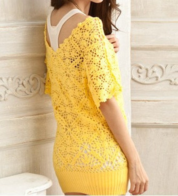 Women sweater V collar lovely hook flower hollow-out sweater--SW038