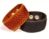 Cross stitches brown,black,blue,red,orange,green,yellow,pink color leather cuff - OctagonLeather