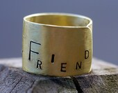 "MEN's/ Women's Gold Ring Wide Band- Personalized Message ""My Lover, My Friend"" ANY SIZE Ring Band"