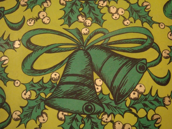 Vintage Gift Wrapping Paper - Monochrome Green Bells - By Lady Clair - 1 Unused Full Sheet