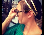 The Julie - Gold Leather Modern Minimalist Headband - Bernielicious