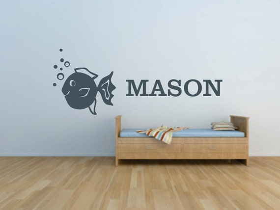 Fish with Bubbles and Custom Name - Vinyl Wall Art Decal