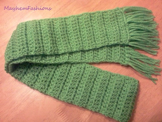 Childrens Scarf  Crochet  Green  outerwear for girl or boy  Crochet Childrens Scarf