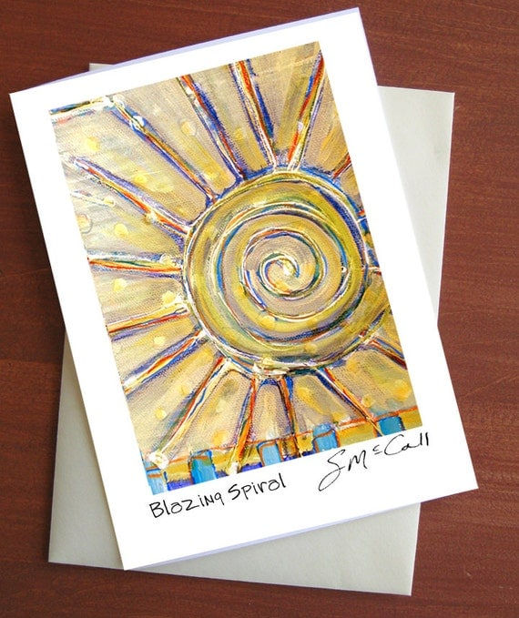 Blank card, greeting cards, stationary, 5x7 card, blazing sun, art print, yellow, blue