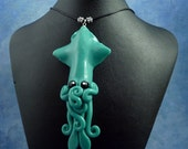 Tropical Sea Squid Necklace, Aqua Blue Handmade Polymer Clay Kawaii Jewelry