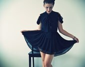 LAST ONE - SALE Black Chiffon A-Line Cotton Candy Dress - carolinabenoit