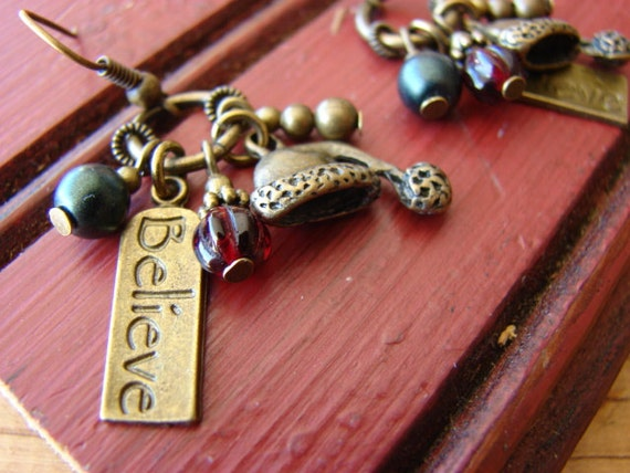If You Just Believe  //  Antique Brass Finish Charm / Czech Glass / Cluster Earrings