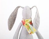 baby shower,stuffed bunny  plush small gray  rabbit wearing floral green scarf  and striped Peach socks  - eco handmade fabric doll - TIMOHANDMADE